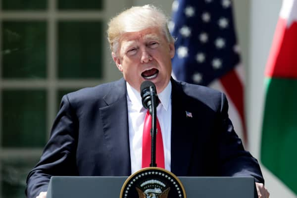 President Donald Trump speaks about the gas attack in Syria as he and Jordan's King Abdullah (not pictured) hold a joint news conference in the Rose Garden after their meeting at the White House in Washington, April 5, 2017.
