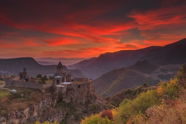 Sunrise in the mountains of Armenia