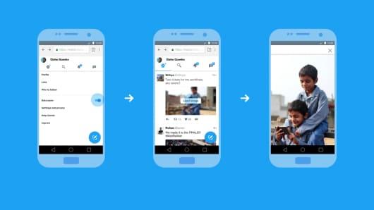 A screenshot showing Twitter Lite's data saving capabilities.