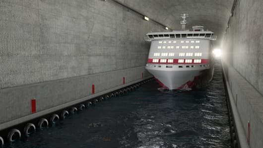 Computer generated image of Norway's Stad tunnel in use
