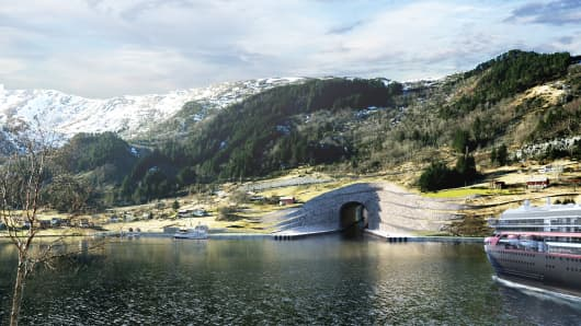 Computer generated image of the exterior of Norway's Stad tunnel