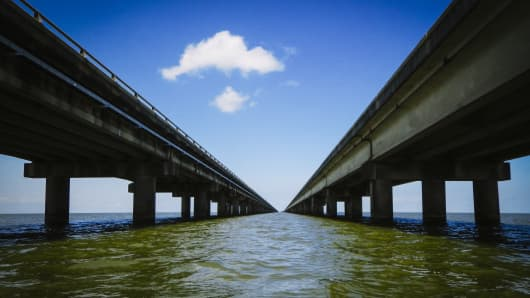 The Lake Pontchartrain Causeway, north of New Orleans, La., March 29, 2017. Improvements to the causeway were one item on a leaked list of the Trump Administration's infrastructure projects wish list, though many other bridge and rail projects would be left hanging.