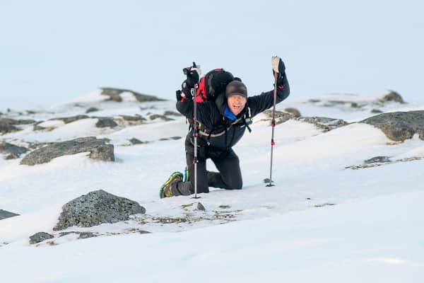 Svein Vestoel competes in The Arctic Triple in Svolvar, Norway.