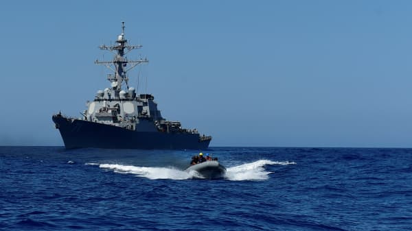 File photo of the USS Ross (DDG 71) in the Mediterranean Sea on July 20, 2016. The USS Ross and USS Porter launched tomahawk missiles into Syria on April 6, 2017.