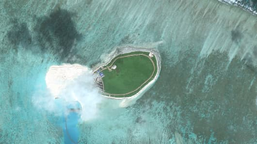 Imagery of Tree Island, one of the main islands of the Paracel Islands group in the South China Sea.