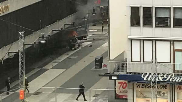 A truck crashed into a department store Ahlens at Drottninggatan in the central of Stockholm, Sweden April 7, 2017.