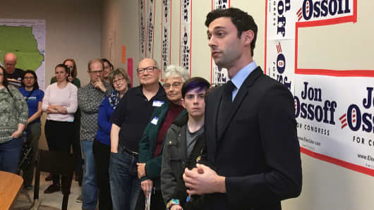 In this photo taken March 11, 2017, Georgia Democratic congressional candidate Jon Ossoff speaks to volunteers in his Cobb County campaign office.