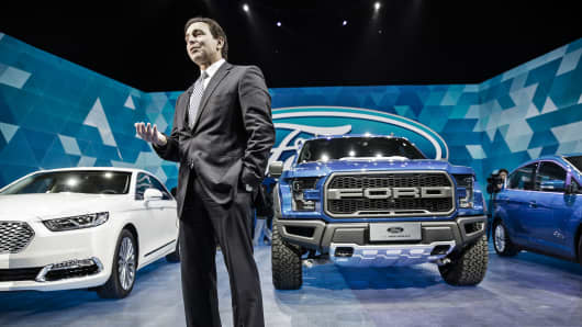 Mark Fields, chief executive officer at Ford Motor Co., speaks during a Ford Media Night event ahead of the Beijing International Automotive Exhibition in Beijing, China.