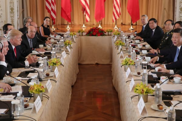 President Donald Trump (3rdL) holds a bilateral meeting with China's President Xi Jinping (2ndR) at Trump's Mar-a-Lago estate in Palm Beach, Florida, U.S., April 7, 2017.