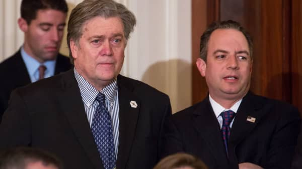 Steve Bannon, Chief Strategist and assistant to President Trump, and Reince Priebus, White House Chief of Staff.