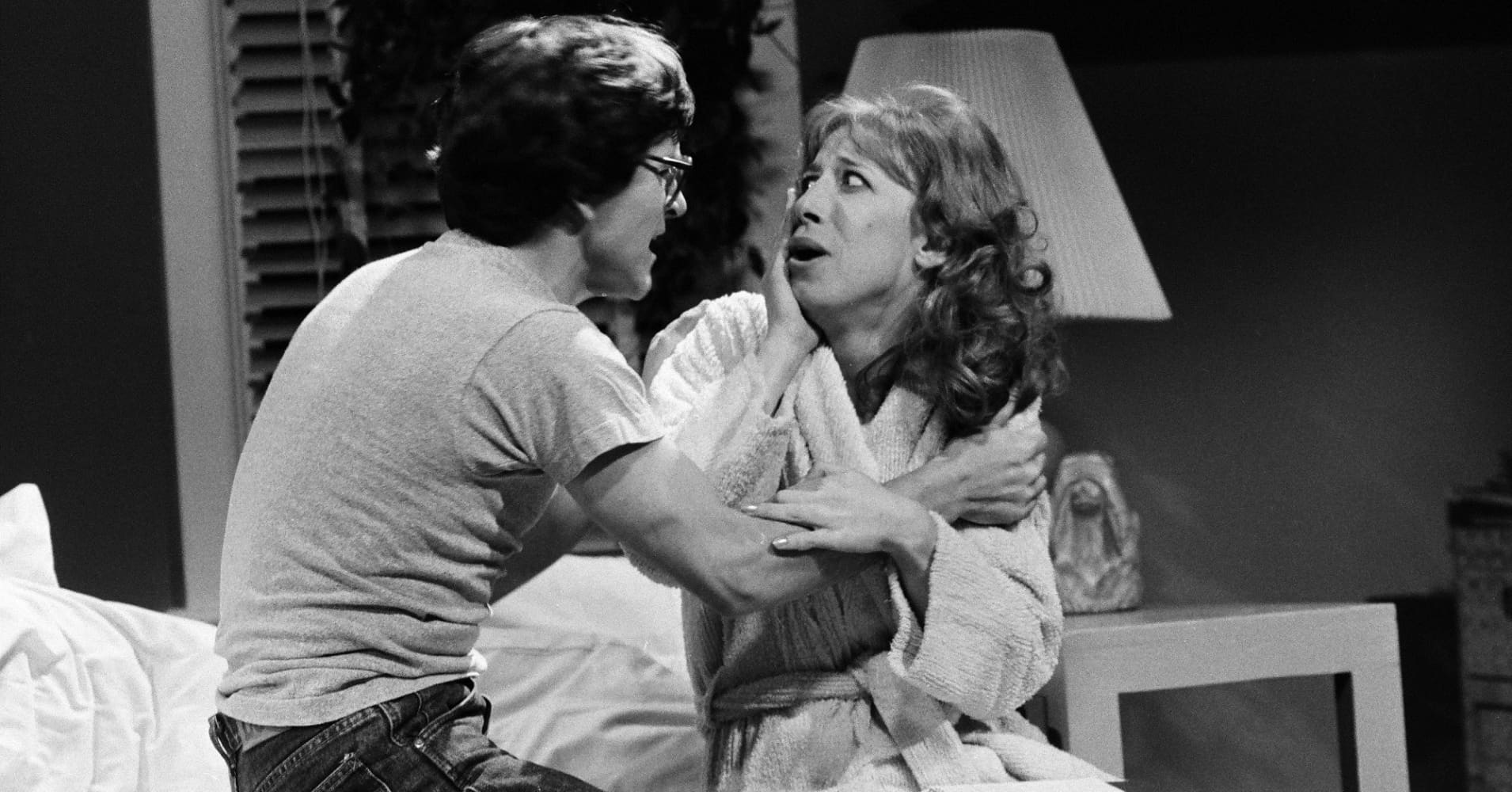 Tim Kazurinsky as Rod Schapps, Robin Duke as Ruth during the ''Strangers In the Night'' skit on 'Saturday Night Live.'