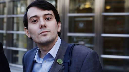 Martin Shkreli, former chief executive officer of Turing Pharmaceuticals and KaloBios Pharmaceuticals Inc, departs after a hearing at U.S. Federal Court in Brooklyn, New York, U.S., October 14, 2016.