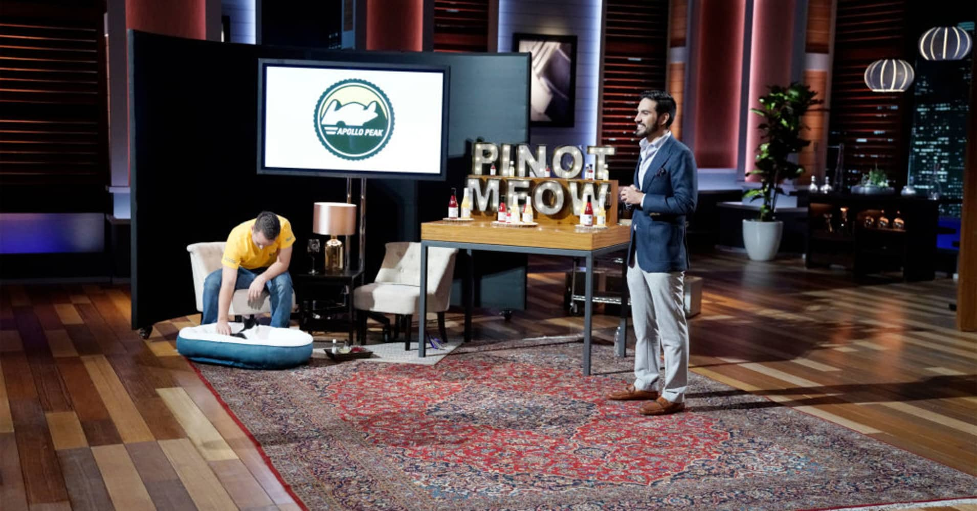 "Brandon Zavala pitching his wine for pets on ""Shark Tank."""