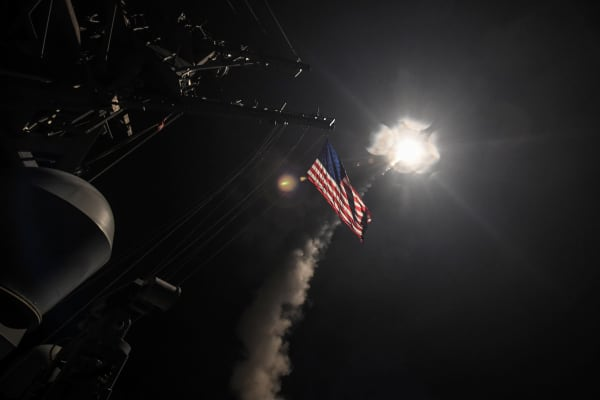 U.S. Navy guided-missile destroyer USS Porter (DDG 78) conducts strike operations while in the Mediterranean Sea which the U.S. Defense Department said was part of a cruise missile strike against Syria on April 7, 2017.
