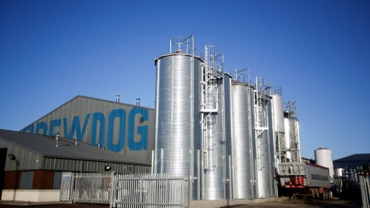 The Brewdog Plc brewery and headquarters stand near Aberdeen, U.K.