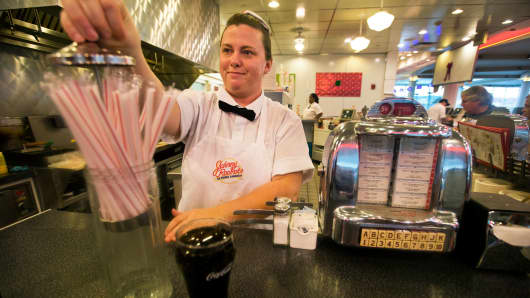 A waitress Heather at the Johnny Rockets restaurant in the Braintree Mall, Braintree, Mass.
