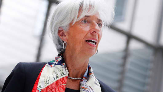 "International Monetary Fund Managing Director Christine Lagarde arrives to present their report ""Making Trade an Engine of Growth for All: The Case for Trade and For Policies to Facilitate Adjustment"" in Berlin, Germany, April 10, 2017."