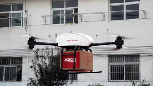 A JD.com drone taking off in Suqian, China