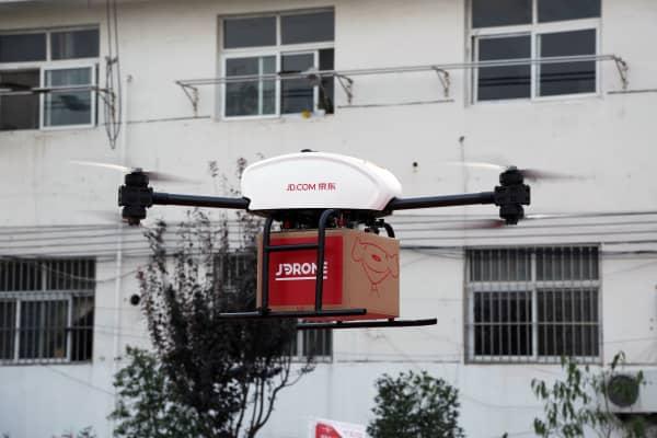 A JD.com drone taking off in Suqian, China