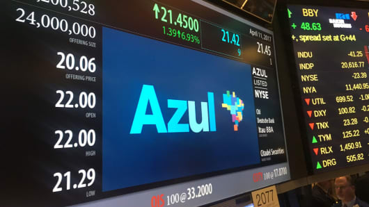 Azul signage at the New York Stock Exchange, April 11, 2017.
