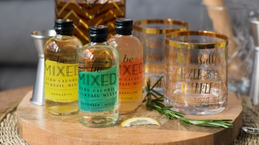 The mixers come in a variety of flavors including Cucumber Mint, Ginger Lime, and Margarita.