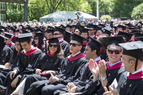 Commencement ceremonies at the Harvard Business School campus in Boston, MA.