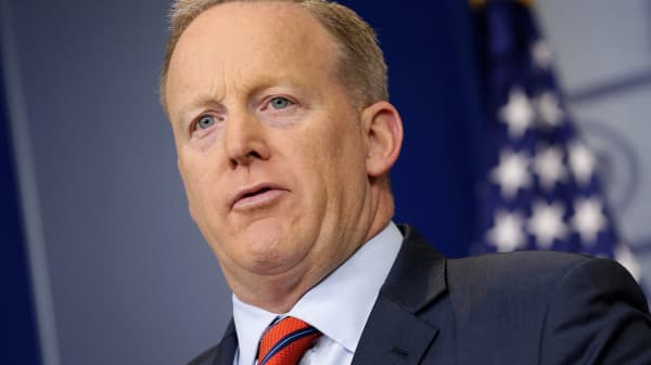 White House Press Secretary Sean Spicer speaks during a press briefing at the White House in Washington, April 11, 2017.