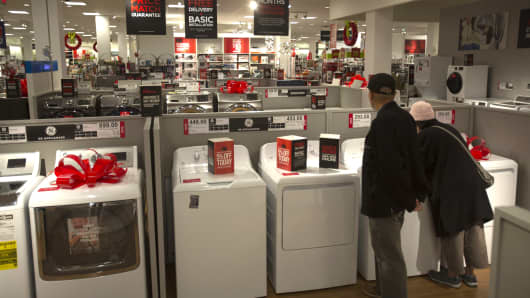 Shoppers browse appliances at the JC Penney Co. store inside the Roosevelt Field Mall in Garden City, New York.