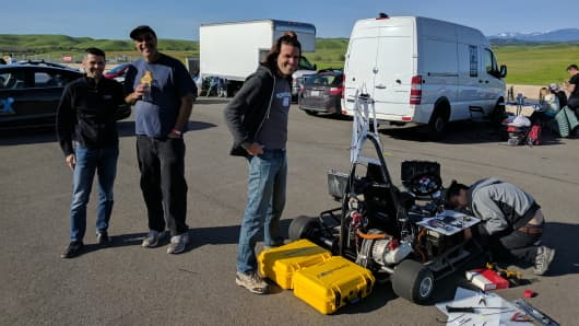 Googler Otavio Good, Autodesk CEO Carl Bass and team at the DIY Robocars race in Northern California, April 1 2017