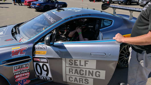 A Self Racing Cars team gets ready to test autonomous car technology at Thunderhill Raceway Park in Northern California, April 1 2017