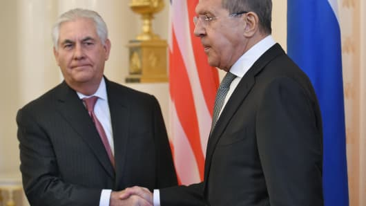 U.S. Secretary of State Rex Tillerson (left) shakes hands with Russian Foreign Minister Sergey Lavrov (right) during their talks on April 12, 2017 in Moscow, Russia.