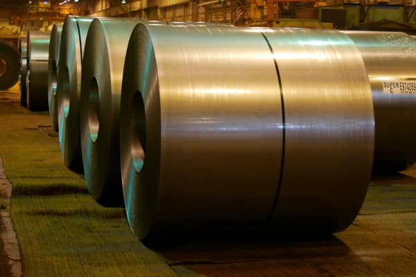 Steel rolls at the US Steel Works in Gary Indiana.