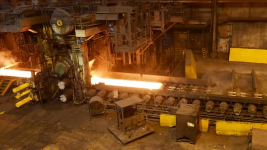 Steel production at US Steel in Gary, Indiana.