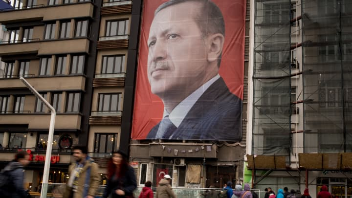 A banner of Turkish President Tayyip Erdogan.