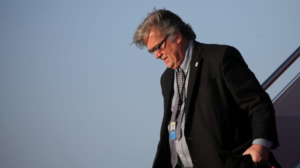 White House Chief Strategist Steve Bannon arrives aboard Air Force One at Joint Base Andrews, Maryland, U.S., April 9, 2017.