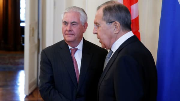 Russian Foreign Minister Sergei Lavrov shakes hands with U.S. Secretary of State Rex Tillerson during their meeting in Moscow, Russia, April 12, 2017.
