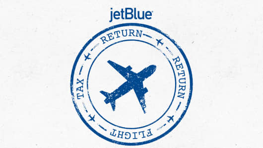 Jet Blue 'return' flight logo.