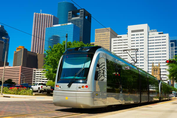 A Houston METRORail light rail train in Downtown Houston.