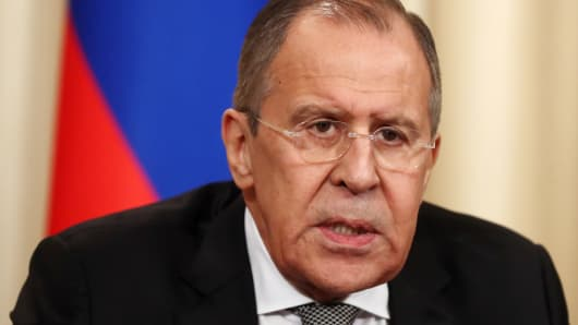 Russia's Foreign Minister Sergei Lavrov looks on during a press conference following his talks with US Secretary of State Rex Tillerson and Russian President Vladimir Putin.