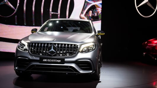 The Mercedes-Benz AMG GLC 63 S Coupe crossover vehicle is displayed during the 2017 New York International Auto Show (NYIAS) in New York, on Wednesday, April 12, 2017.