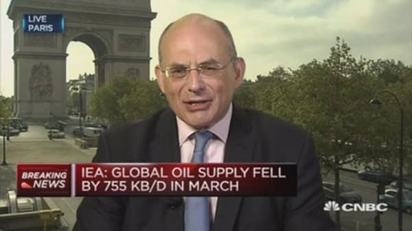 Global oil supply fell by 755KB/D in March: IEA