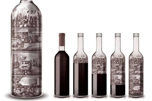 Y&R Russia designed bottles showing drinking scenes getting gradually worse