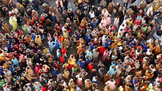 Crowd of people in Viareggio, Italy