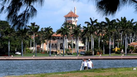 President Donald Trump's Mar-a-Lago estate in Palm Beach is seen from West Palm Beach, Florida, U.S., as Trump prepared to return to Washington after a weekend at the estate, March 5, 2017.
