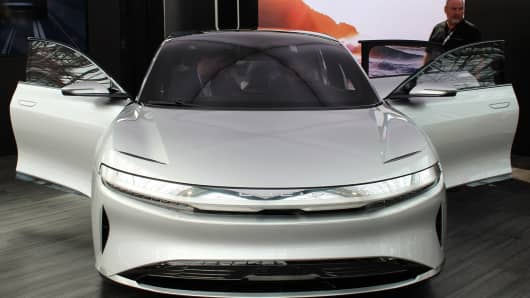 A Lucid Air on display at the New York Auto Show on April 13, 2017.