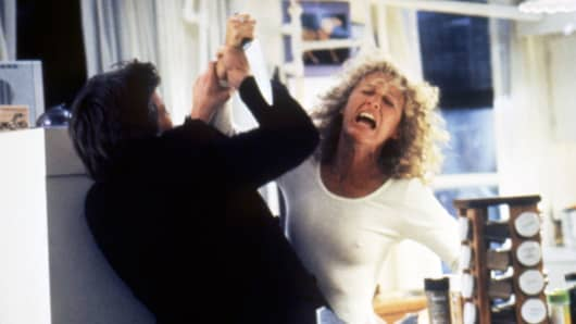 "American actors Michael Douglas and Glenn Close in ""Fatal Attraction."""