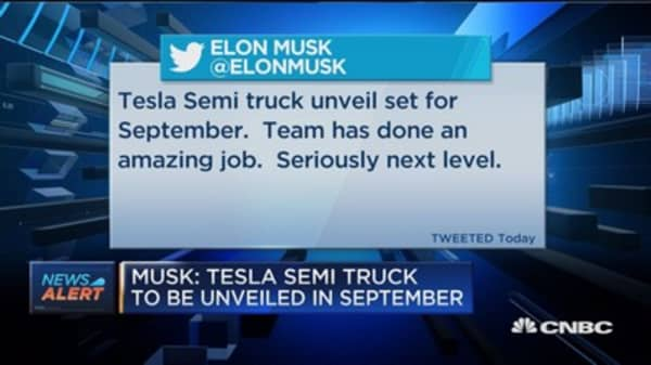 Musk: Tesla semi truck to unveiled in September