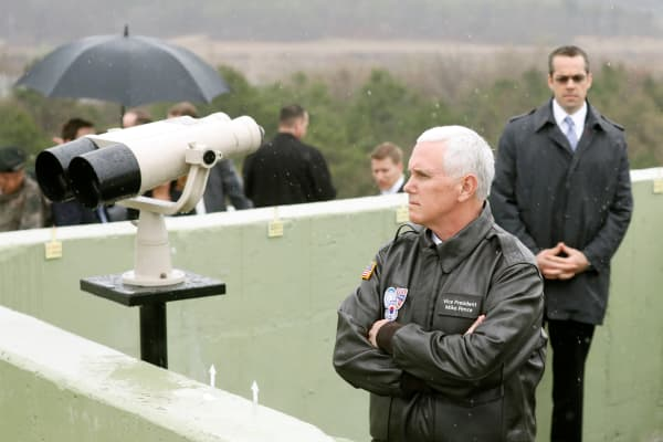 U.S. Vice President Mike Pence looks toward the north from an observation post inside the demilitarized zone separating the two Koreas, in Paju, South Korea, April 17, 2017.