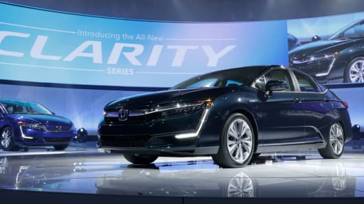 The plug-in version of the Honda Clarity is displayed at the 2017 New York International Auto Show in New York City, U.S. April 12, 2017.