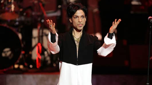 Musician Prince is seen on stage at the 36th NAACP Image Awards at the Dorothy Chandler Pavilion on March 19, 2005 in Los Angeles, California.